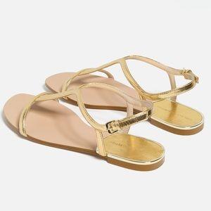 Zara Flat Gold Metallic Sandals